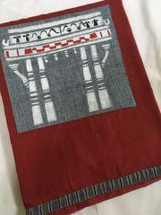 Monuments of Telangana - Kakatiya Thoranam - Cotton - Red with Grey patch with White painting & Grey Ikkat Border