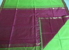 Maheshwari Sarees - Silk Cotton - Small Zari Border - Bright Green with Pink Palla & Blouse