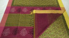 Maheshwari Sarees - Silk Cotton - Hand Block Printed - Yellow with Pink & Yellow Palla & Pink Blouse and Pink & Yellow Ganga Jamuna Border