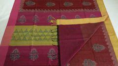 Maheshwari Sarees - Silk Cotton - Hand Block Printed - Red with Pink & Yellow Palla & Pink Blouse and Pink & Yellow Ganga Jamuna Border