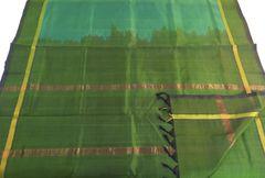 Venkatagiri Sarees - Silk Cotton - Sky Blue Shot with Olive Green with Olive Green Border, Palla & Blouse Piece