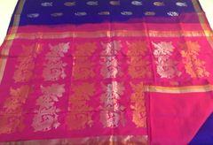 Venkatagiri Sarees - Silk - Royal Blue with Hot Pink Palla & Blouse and Silver & Gold Zari Butas & Border