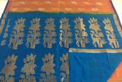 Venkatagiri Sarees - Silk - Yellow Shot with Pink with Blue Palla & Blouse and Silver & Gold Zari Butas & Border