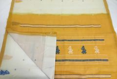 Gollabhama Saree - Pallu Motif - Cotton - Off White with Yellow Pallu and Blue & Yellow Motifs with Running Blouse (0.5m)