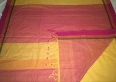 East Godavari Cotton Sarees - Cotton - Mango Yellow with Dobby Border and Pink Border, Palla & Striped Pink Blouse