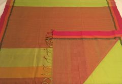 East Godavari Cotton Sarees - Cotton - Bright Green with Dobby Border and Pink Border, Palla & Striped Pink Blouse