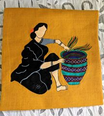 Women In Craft - Make me a Basket - Cotton - Yellow with Black & Green Painting