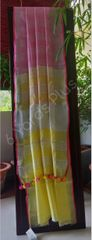 BHAGALPUR COTTON-PINK AND YELLOW SAREE-YELLOW BLOUSE AND PALLA-PINK BORDER