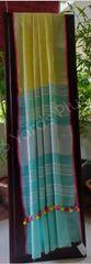 BHAGALPUR COTTON-YELLOW AND BLUE SAREE-BLUE BLOUSE AND PALLA-PINK BORDER