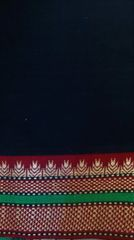 Mangalagiri Cotton Blouse Piece- Black with Narayanpet style Maroon border