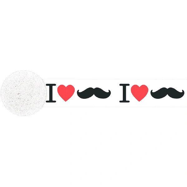 Crepe Printed Streamer - I Heart Mustache