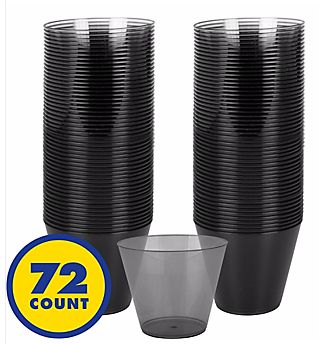 Big Party Pack Black Plastic Cups, 9oz - 72ct