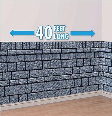 Stone Wall Scene Setter Plastic Room Roll, 40ft