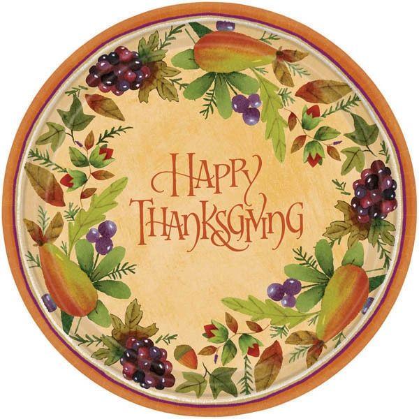 "Thanksgiving Medley Dessert Plates, 7"" - 8ct"