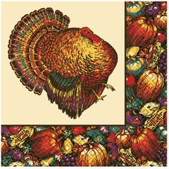 Autumn Turkey Beverage Napkins, 30ct