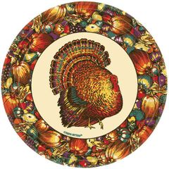 "Autumn Turkey Dessert Plates, 7"" - 12ct"