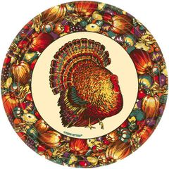 "Autumn Turkey Dinner Plates, 9""- 10ct"