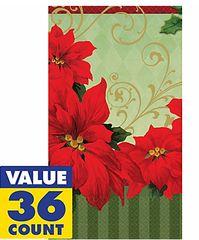 Vintage Poinsettia Guest Towels, 36ct