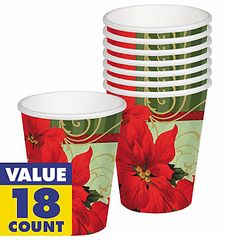 Vintage Poinsettia Cups, 9oz - 18ct