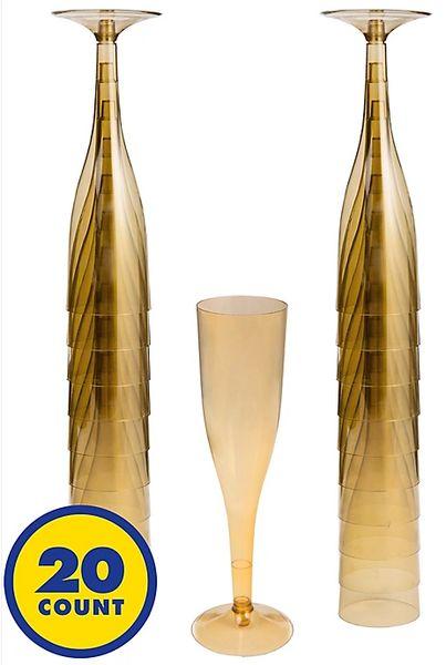 Big Party Pack Gold Plastic Champagne Flutes, 5.5oz - 20ct