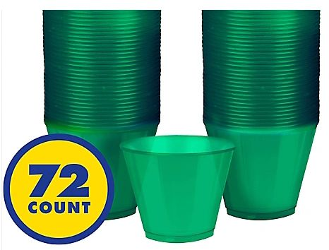 Big Party Pack Festive Green Plastic Tumbler, 9oz - 72ct