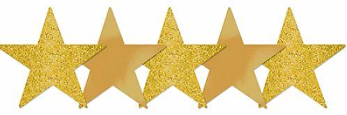 """Star Cutouts - Gold, 5"""" - 5ct"""