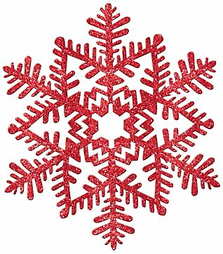 Small Glitter Plastic Snowflake Decoration - Red
