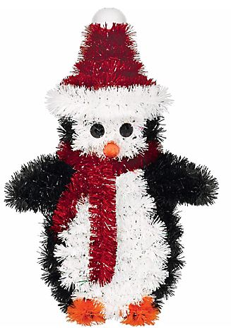 Tinsel 3-D Penguin Decoration
