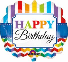 Happy Birthday Bright Stripe & Chevron Super Shape Balloon 25""