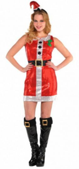 Santa Sequin Dress - Adult S/M, L/XL