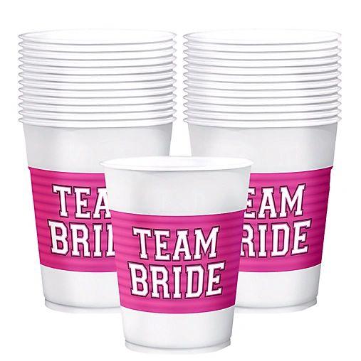 Team Bride Plastic Cups, 16oz - 25ct