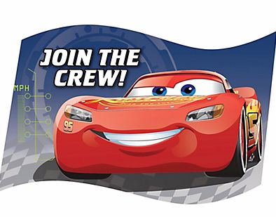 ©DISNEY CARS 3 Postcard Invitations, 8ct