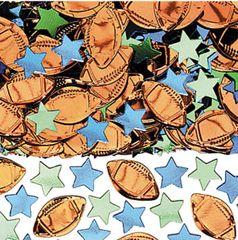 Football & Stars Metallic Confetti Mix