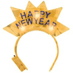 Happy New Year Light Up Gold Tiara Headband