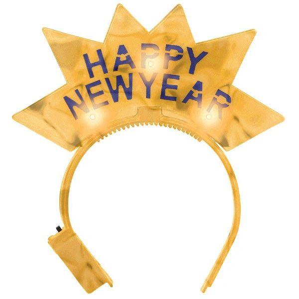 Happy New Year Light Up Gold Tiara Headband