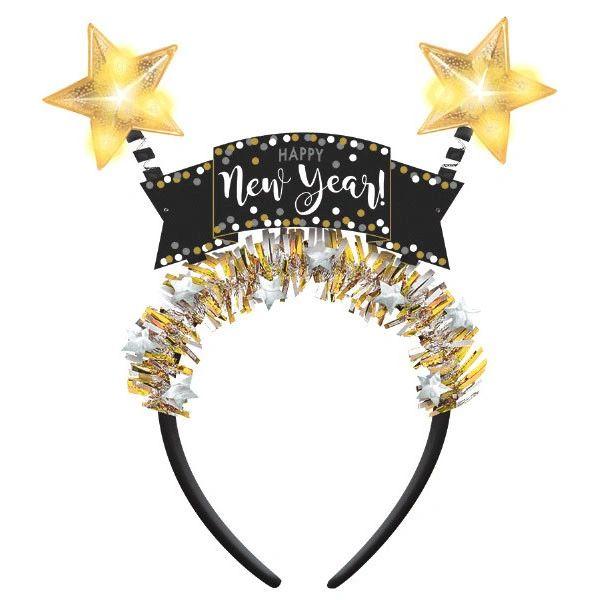 New Year's Light Up Star Head Bopper