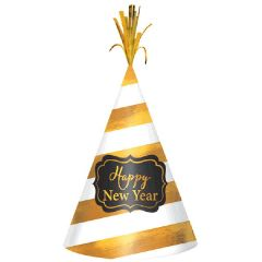 """2018"" New Year's Cone Hat - White/Gold Stripe"