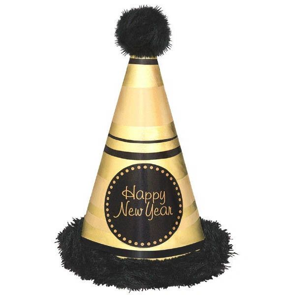 Happy New Year Deluxe Cone Hat w/Marabou Trim - Black & Gold