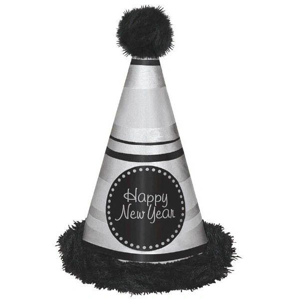 Happy New Year Deluxe Cone Hat w/Marabou Trim - Silver & Black