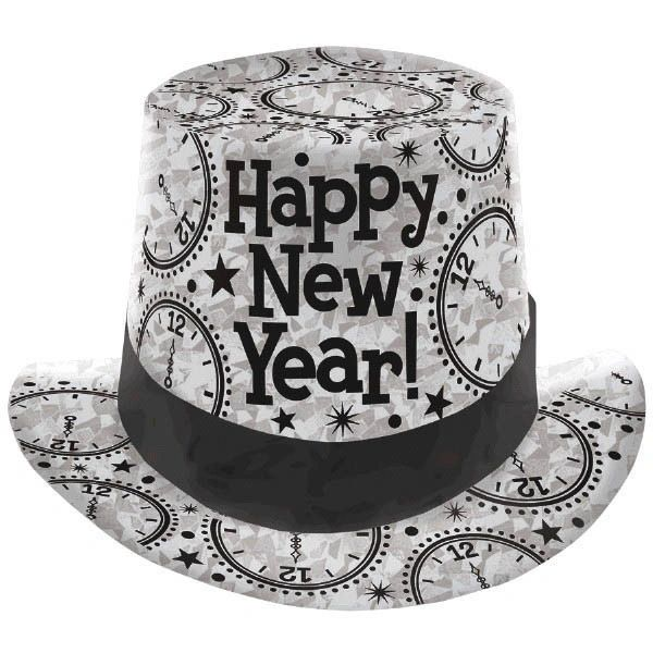 New Year's Prismatic Paper Top Hat - Silver