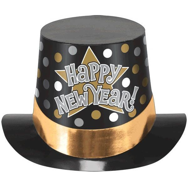 Printed Paper Top Hat - Black, Silver & Gold