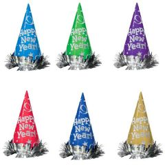 Metallic Glitter Paper Cone Hats - Assorted Colors, 12ct