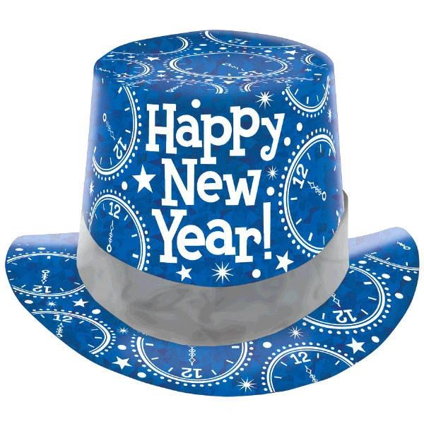 New Year's Prismatic Paper Top Hat - Blue