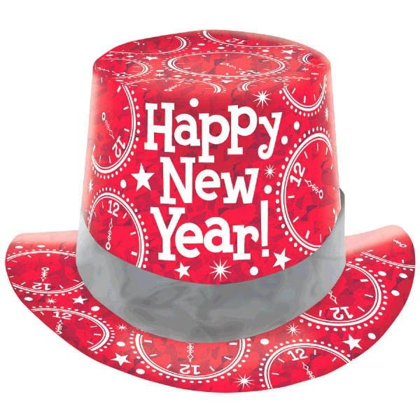 New Year's Prismatic Paper Top Hat - Red