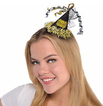 Happy New Year Mini Cone Hat Hair Clip - Black, Silver, Gold