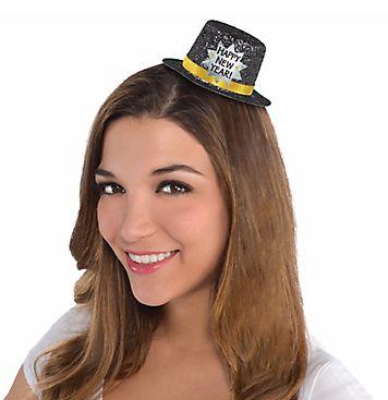 Mini Glitter Top Hat - Black