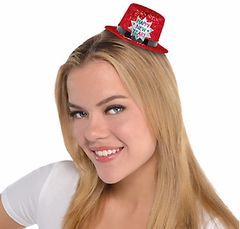 Mini Glitter Top Hat - Red