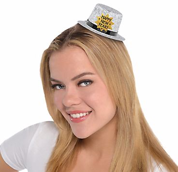 Mini Glitter Top Hat - Silver