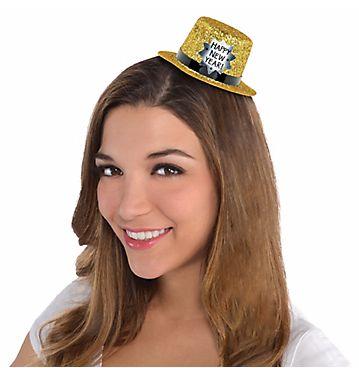 Mini Glitter Plastic Top Hat - Black, Silver & Gold