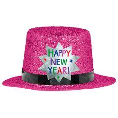 Mini Glitter Top Hat - Bright Pink